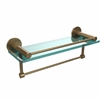 Allied Brass FR-1/16GTB-BBR Fresno Collection 16 Inch Glass Shelf with Vanity Rail and Integrated Towel Bar, Brushed Bronze