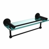 Allied Brass FR-1/16GTB-BKM Fresno Collection 16 Inch Glass Shelf with Vanity Rail and Integrated Towel Bar, Matte Black