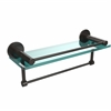 Allied Brass FR-1/16GTB-ORB Fresno Collection 16 Inch Glass Shelf with Vanity Rail and Integrated Towel Bar, Oil Rubbed Bronze