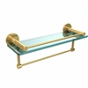 Allied Brass FR-1/16GTB-PB Fresno Collection 16 Inch Glass Shelf with Vanity Rail and Integrated Towel Bar, Polished Brass