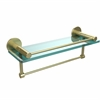 Allied Brass FR-1/16GTB-SBR Fresno Collection 16 Inch Glass Shelf with Vanity Rail and Integrated Towel Bar, Satin Brass