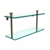 Allied Brass FT-2/16-BBR Foxtrot Collection 16 Inch Two Tiered Glass Shelf, Brushed Bronze