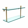 Allied Brass FT-2/16-UNL Foxtrot Collection 16 Inch Two Tiered Glass Shelf, Unlacquered Brass