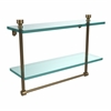 Allied Brass FT-2/16TB-BBR Foxtrot Collection 16 Inch Two Tiered Glass Shelf with Integrated Towel Bar, Brushed Bronze