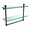 Allied Brass FT-2/16TB-BKM Foxtrot Collection 16 Inch Two Tiered Glass Shelf with Integrated Towel Bar, Matte Black