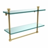 Allied Brass FT-2/16TB-UNL Foxtrot Collection 16 Inch Two Tiered Glass Shelf with Integrated Towel Bar, Unlacquered Brass
