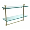 Allied Brass FT-2/16TB-SBR Foxtrot Collection 16 Inch Two Tiered Glass Shelf with Integrated Towel Bar, Satin Brass