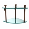Allied Brass FT-3-ABZ Foxtrot Collection Two Tier Corner Glass Shelf, Antique Bronze