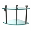 Allied Brass FT-3-ORB Foxtrot Collection Two Tier Corner Glass Shelf, Oil Rubbed Bronze