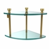 Allied Brass FT-3-UNL Foxtrot Collection Two Tier Corner Glass Shelf, Unlacquered Brass