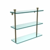 Allied Brass FT-5/16-ABR Foxtrot Collection 16 Inch Triple Tiered Glass Shelf, Antique Brass
