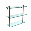 Allied Brass FT-5/16-ABZ Foxtrot Collection 16 Inch Triple Tiered Glass Shelf, Antique Bronze