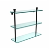 Allied Brass FT-5/16-BKM Foxtrot Collection 16 Inch Triple Tiered Glass Shelf, Matte Black