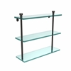 Allied Brass FT-5/16-ORB Foxtrot Collection 16 Inch Triple Tiered Glass Shelf, Oil Rubbed Bronze