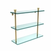 Allied Brass FT-5/16-UNL Foxtrot Collection 16 Inch Triple Tiered Glass Shelf, Unlacquered Brass