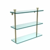 Allied Brass FT-5/16-SBR Foxtrot Collection 16 Inch Triple Tiered Glass Shelf, Satin Brass