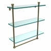 Allied Brass FT-5/16TB-ABR Foxtrot Collection 16 Inch Triple Tiered Glass Shelf with Integrated Towel Bar, Antique Brass