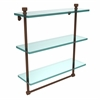 Allied Brass FT-5/16TB-ABZ Foxtrot Collection 16 Inch Triple Tiered Glass Shelf with Integrated Towel Bar, Antique Bronze