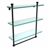 Allied Brass FT-5/16TB-BKM Foxtrot Collection 16 Inch Triple Tiered Glass Shelf with Integrated Towel Bar, Matte Black