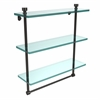 Allied Brass FT-5/16TB-ORB Foxtrot Collection 16 Inch Triple Tiered Glass Shelf with Integrated Towel Bar, Oil Rubbed Bronze