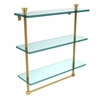 Allied Brass FT-5/16TB-UNL Foxtrot Collection 16 Inch Triple Tiered Glass Shelf with Integrated Towel Bar, Unlacquered Brass