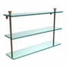 Allied Brass FT-5/22-BBR Foxtrot Collection 22 Inch Triple Tiered Glass Shelf, Brushed Bronze