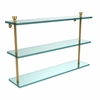 Allied Brass FT-5/22-PB Foxtrot Collection 22 Inch Triple Tiered Glass Shelf, Polished Brass