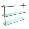 Allied Brass FT-5/22-SBR Foxtrot Collection 22 Inch Triple Tiered Glass Shelf, Satin Brass