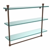 Allied Brass FT-5/22TB-ABZ Foxtrot Collection 22 Inch Triple Tiered Glass Shelf with Integrated Towel Bar, Antique Bronze