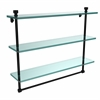Allied Brass FT-5/22TB-BKM Foxtrot Collection 22 Inch Triple Tiered Glass Shelf with Integrated Towel Bar, Matte Black
