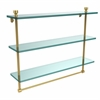 Allied Brass FT-5/22TB-UNL Foxtrot Collection 22 Inch Triple Tiered Glass Shelf with Integrated Towel Bar, Unlacquered Brass