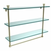 Allied Brass FT-5/22TB-SBR Foxtrot Collection 22 Inch Triple Tiered Glass Shelf with Integrated Towel Bar, Satin Brass