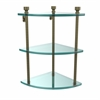 Allied Brass FT-6-ABR Foxtrot Collection Three Tier Corner Glass Shelf, Antique Brass
