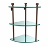 Allied Brass FT-6-ABZ Foxtrot Collection Three Tier Corner Glass Shelf, Antique Bronze