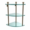 Allied Brass FT-6-BBR Foxtrot Collection Three Tier Corner Glass Shelf, Brushed Bronze