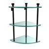 Allied Brass FT-6-BKM Foxtrot Collection Three Tier Corner Glass Shelf, Matte Black