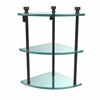 Allied Brass FT-6-ORB Foxtrot Collection Three Tier Corner Glass Shelf, Oil Rubbed Bronze