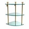 Allied Brass FT-6-UNL Foxtrot Collection Three Tier Corner Glass Shelf, Unlacquered Brass