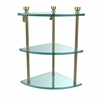 Allied Brass FT-6-SBR Foxtrot Collection Three Tier Corner Glass Shelf, Satin Brass