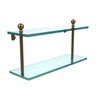 Allied Brass MA-2/16-BBR Mambo Collection 16 Inch Two Tiered Glass Shelf, Brushed Bronze