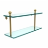Allied Brass MA-2/16-UNL Mambo Collection 16 Inch Two Tiered Glass Shelf, Unlacquered Brass