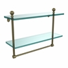 Allied Brass MA-2/16TB-ABR Mambo Collection 16 Inch Two Tiered Glass Shelf with Integrated Towel Bar, Antique Brass