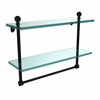 Allied Brass MA-2/16TB-BKM Mambo Collection 16 Inch Two Tiered Glass Shelf with Integrated Towel Bar, Matte Black
