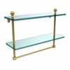 Allied Brass MA-2/16TB-UNL Mambo Collection 16 Inch Two Tiered Glass Shelf with Integrated Towel Bar, Unlacquered Brass