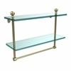 Allied Brass MA-2/16TB-SBR Mambo Collection 16 Inch Two Tiered Glass Shelf with Integrated Towel Bar, Satin Brass