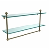 Allied Brass MA-2/22TB-ABR Mambo Collection 22 Inch Two Tiered Glass Shelf with Integrated Towel Bar, Antique Brass