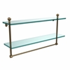 Allied Brass MA-2/22TB-BBR Mambo Collection 22 Inch Two Tiered Glass Shelf with Integrated Towel Bar, Brushed Bronze