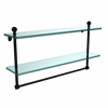 Allied Brass MA-2/22TB-BKM Mambo Collection 22 Inch Two Tiered Glass Shelf with Integrated Towel Bar, Matte Black