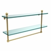 Allied Brass MA-2/22TB-UNL Mambo Collection 22 Inch Two Tiered Glass Shelf with Integrated Towel Bar, Unlacquered Brass