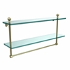 Allied Brass MA-2/22TB-SBR Mambo Collection 22 Inch Two Tiered Glass Shelf with Integrated Towel Bar, Satin Brass